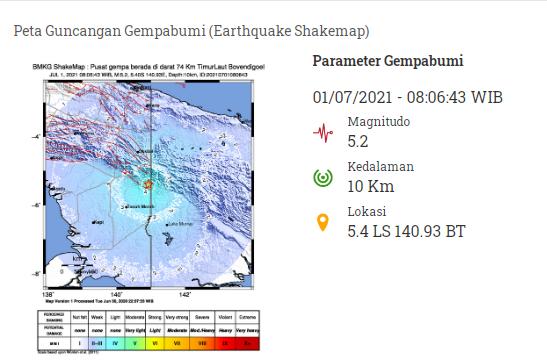 Gempa bumi di Bocen Dicoel (Grafis: BMKG)