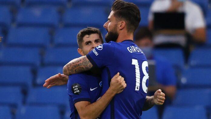 Olivier Giroud dan Christian Pulisic merayakan gol ke gawang Norwich City, Selasa (14/7/2020). Chelsea menang 1-0 dan mencatat 63 poin. (Foto dari Livescore)