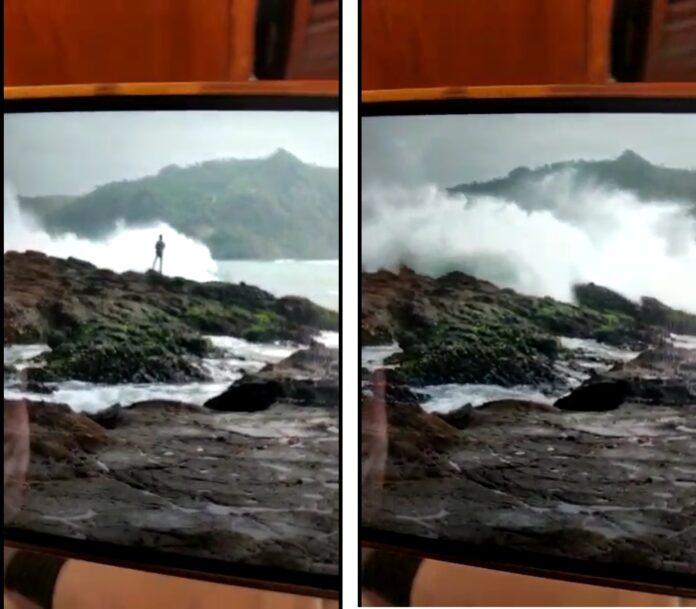 Foto kiri korban masih terlihat memancing, Foto kanan telah hilang tersapu ombak.